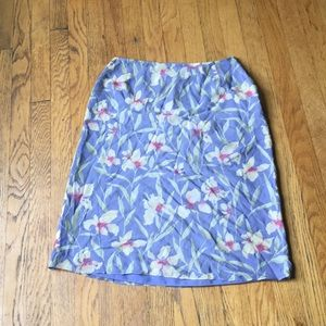 Adrianna Papell pale blue silk floral skirt